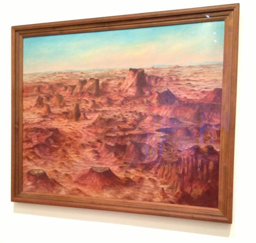 Sidney Nolan 1971-1992. Inland Australia 1950. Oil Paint on Hardboard