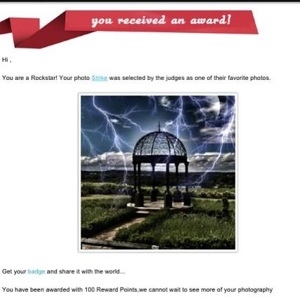 My photograph won an award via ViewBug