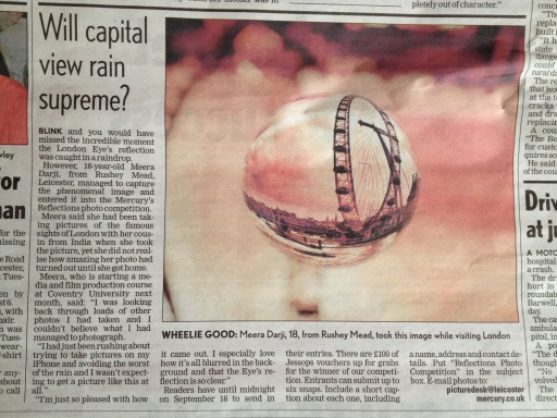 My Photograph featured in Leicester Mercury Newspaper